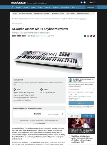 MusicRadar.com M-Audio Axiom Air 61 Keyboard