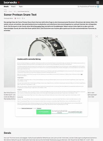 Bonedo.de Sonor Protean Snare Test