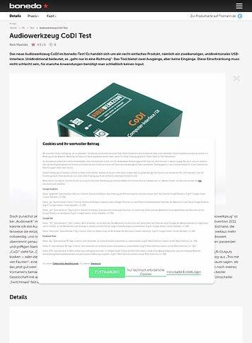 Bonedo.de Audiowerkzeug CoDI Test