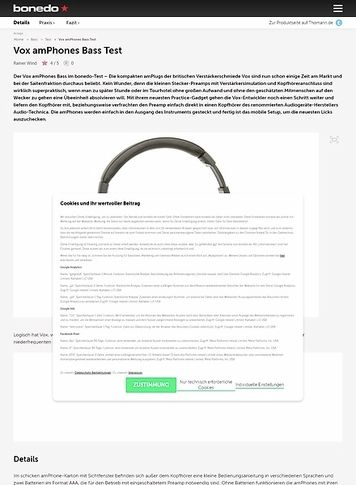 Bonedo.de Vox amPhones Bass Test