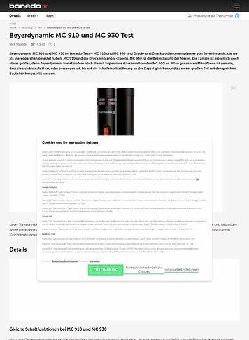 Bonedo.de Beyerdynamic MC 910 und MC 930 Test