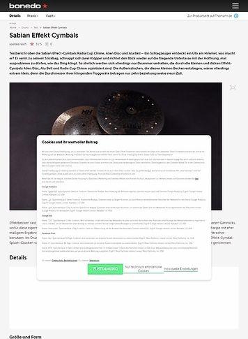 Bonedo.de Sabian Effekt Cymbals