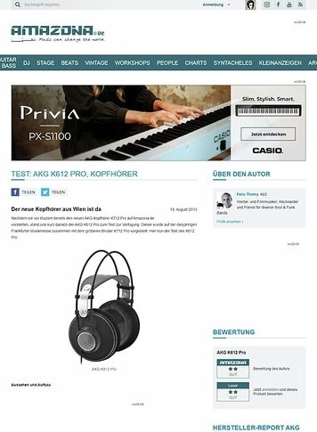 Amazona.de Test: AKG K612 Pro, Kopfhörer