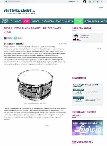 Amazona.de Test: Ludwig Black Beauty LB417KT Snare Drum