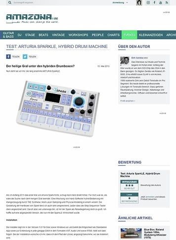 Amazona.de Test: Arturia SparkLE, Hybrid Drum Machine