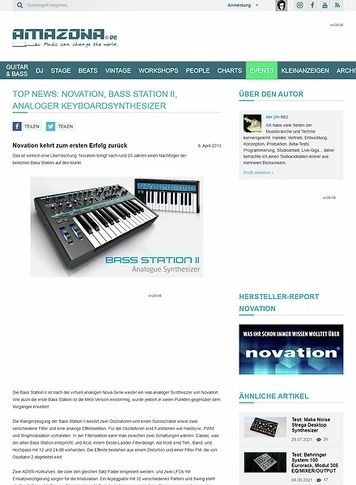 Amazona.de Top News: Novation, Bass Station II, Analoger Keyboardsynthesizer