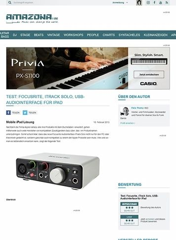 Amazona.de Test: Focusrite, iTrack Solo, USB-Audiointerface für iPad