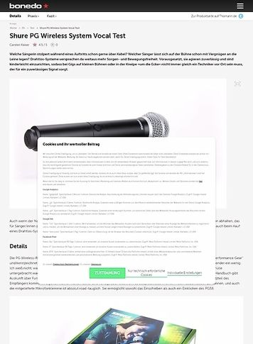 Bonedo.de Shure PG Wireless System Vocal Test