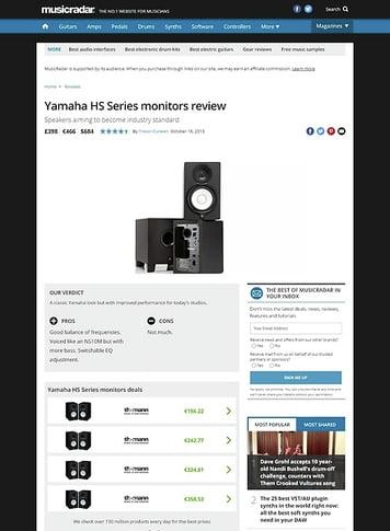 MusicRadar.com Yamaha HS Series monitors
