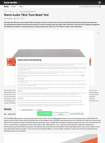 Bonedo.de Warm Audio TB12 Tone Beast Test