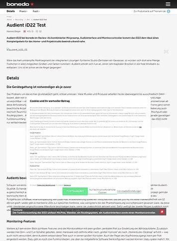 Bonedo.de Audient iD22 Test