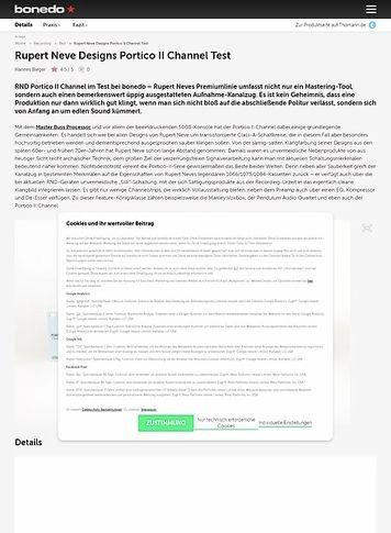 Bonedo.de Rupert Neve Designs Portico II Channel Test