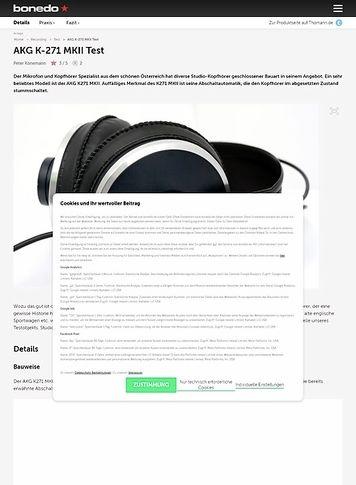 Bonedo.de AKG K-271 MKII Test