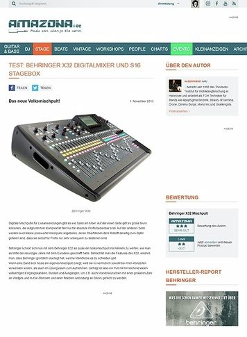 Amazona.de Behringer X32 Digitalmixer und S16 Stagebox