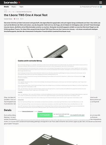 Bonedo.de the t-bone TWS Vocal One A Test