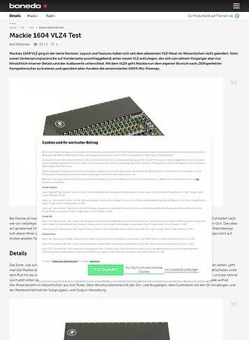 Bonedo.de Mackie 1604 VLZ4 Test