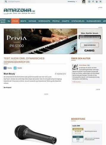 Amazona.de Test: Audix OM6, dynamisches Gesangsmikrofon