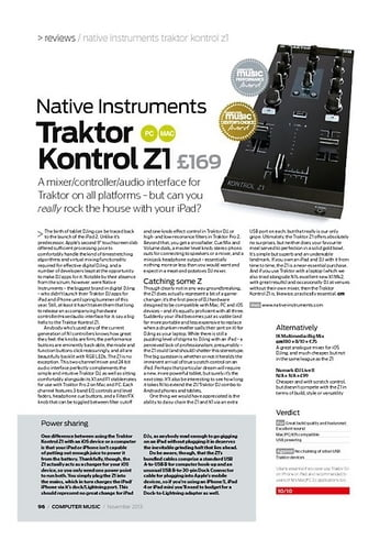 Computer Music Native Instruments Traktor Kontrol Z1