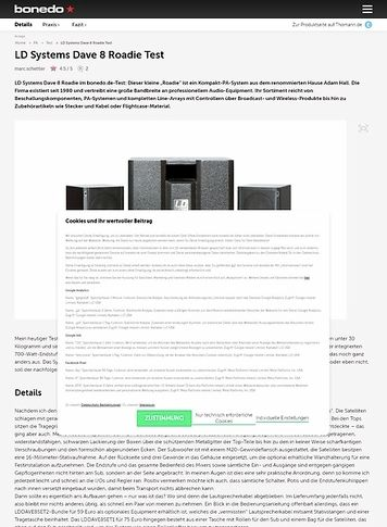 Bonedo.de LD Systems Dave 8 Roadie Test