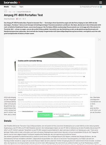 Bonedo.de Ampeg PF-800 Portaflex Test
