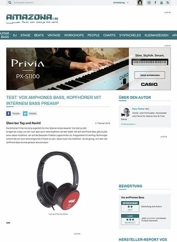 Amazona.de Test: Vox amPhones Bass, Kopfhörer mit internem Bass Preamp