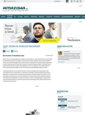 Amazona.de Test: Zoom H6, mobiler Recorder