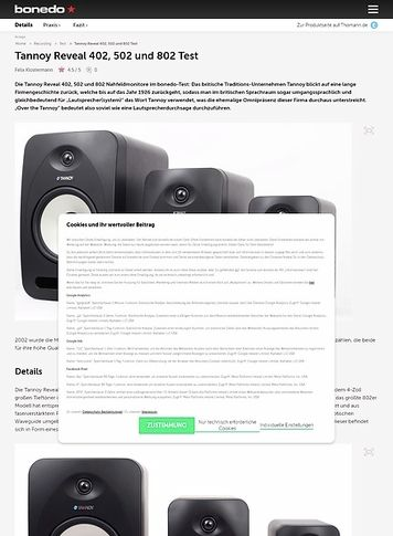 Bonedo.de Tannoy Reveal 402, 502 und 802