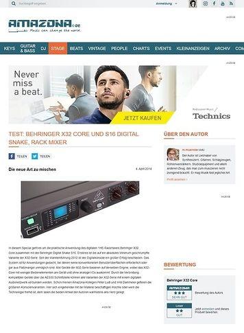 Amazona.de Special: Behringer X32 Core und S16 Digital Snake, Digitaler Rack Mixer