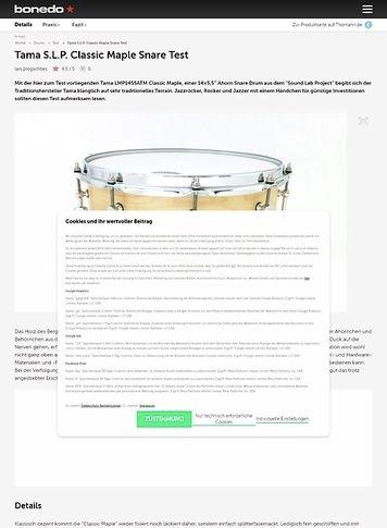 """Bonedo.de Tama 14"""" x 5,5"""",  S.L.P. LMP1455ATM Classic Maple Snare"""