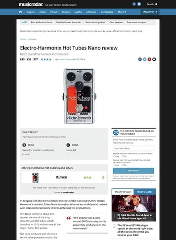 MusicRadar.com Electro-Harmonix Hot Tubes Nano