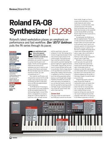 Future Music Roland FA-08 Synthesizer