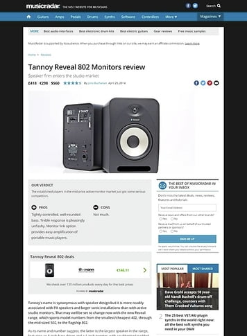 MusicRadar.com Tannoy Reveal 802 Monitors