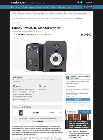 MusicRadar.com Tannoy Reveal 802 Monitors