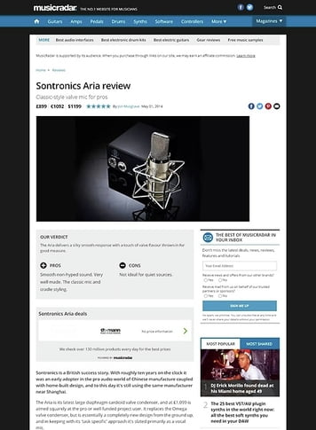 MusicRadar.com Sontronics Aria