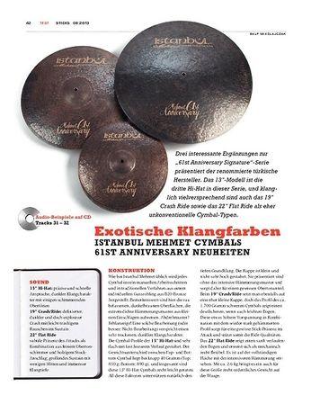 Sticks Istanbul Mehmet 61st Anniversary Cymbals