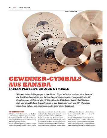 Sticks Sabian Player's Choice Cymbals