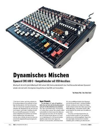 Keyboards Dynacord CMS 600-3 – Kompaktmischer mit USB-Audiointerface