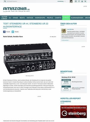 Amazona.de Test: Steinberg UR 44, Steinberg UR 22, Audiointerface