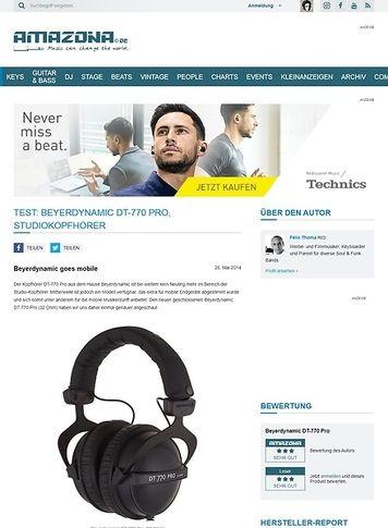 Amazona.de Test: Beyerdynamic DT-770 Pro, Studiokopfhörer