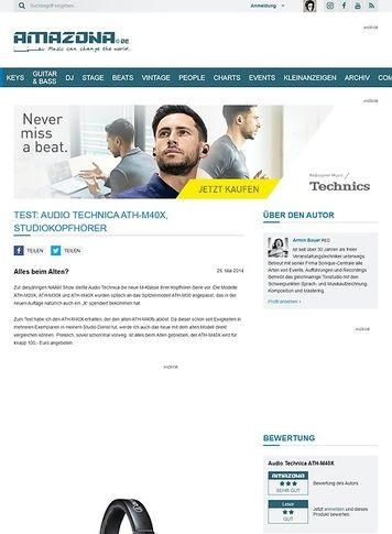 Amazona.de Test: Audio Technica ATH-M40X, Studiokopfhörer