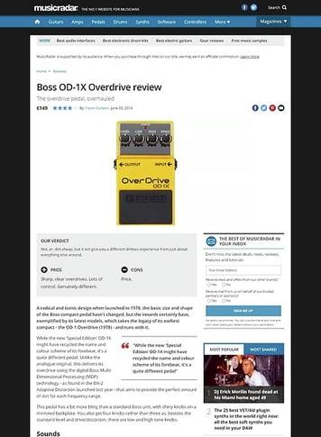 MusicRadar.com Boss OD-1X Overdrive