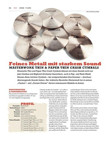 Sticks Masterwork Thin & Paper Thin Crash Cymbals