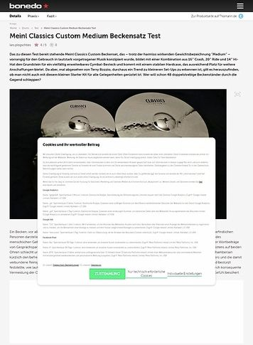 Bonedo.de Meinl Classics Custom Medium