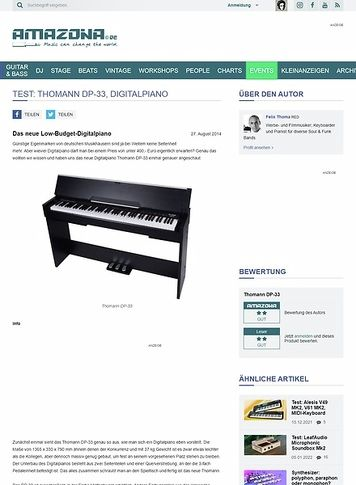 Amazona.de Test: Thomann DP-33, Digitalpiano
