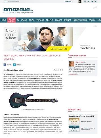 Amazona.de Test: Music Man John Petrucci Majesty 6 , E-Gitarre