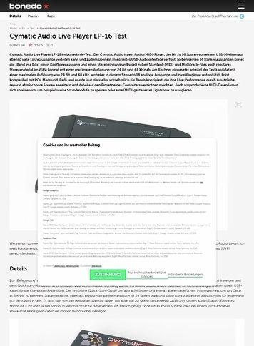 Bonedo.de Cymatic Audio Live Player LP-16