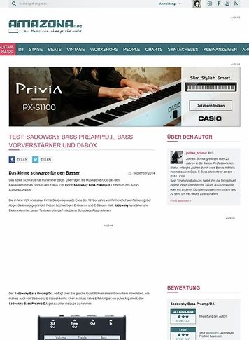 Amazona.de Test: Sadowsky Bass Preamp/D.I., Bass Vorverstärker und DI-Box