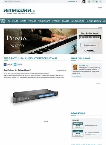 Amazona.de Test: Motu 16A, Audiointerface mit AVB