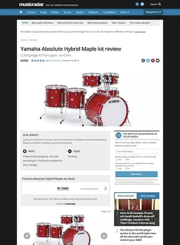 MusicRadar.com Yamaha Absolute Hybrid Maple kit