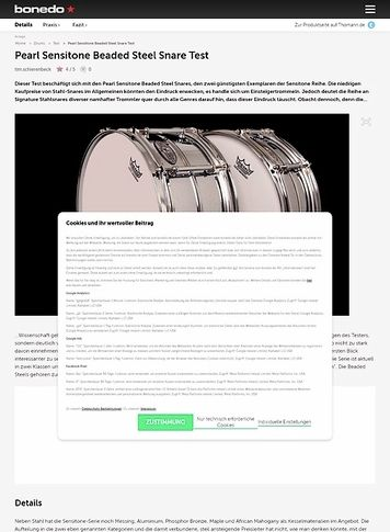 Bonedo.de Pearl Sensitone Beaded Steel Snare